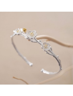 Creative Lover Gift Jewelry Women Bracelet Flower Cherry Branch Silver Open Bracelet