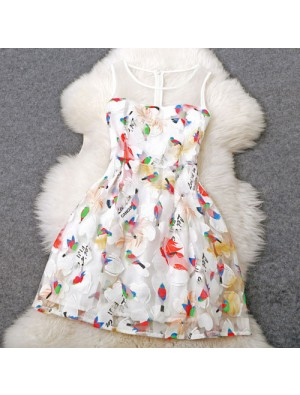 New Unique Embroidered Birds Temperament Princess Dress