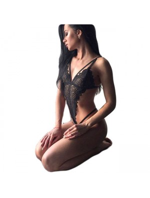 Sexy Lace Siamese Pajamas Women Black Hollow Conjoined Intimate Lingerie