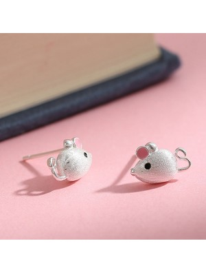 Cute Mini Mouse Pink Ear Silver Earring Studs Animal Earrings