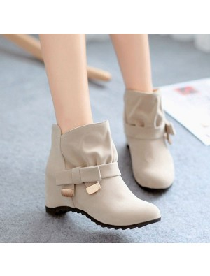 Height Increasing Shoes Bow Knot Buckle Martin Boots