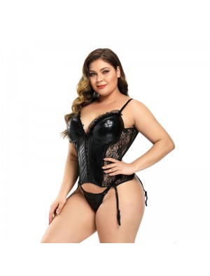 Sexy Bodysuit Lace Leather Suit Lure Underwear With Thong Garter Belt Teddy Shapewear Corset Lingerie
