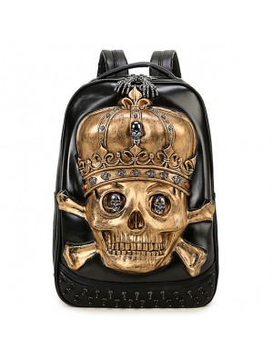 Punk PU Stereo 3D Crown Skull Head Rivets Large Boy's School Backpack