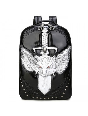 Punk Sword Wild Wolf Rivets Large Capacity Boy's 3D PU Stereo Angel Wings Backpack