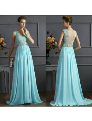 Elegant Women's Blue Mesh A-line V-neck Sequins Backless Formal Prom Gowns Long Maxi Dress Ruffles Chiffon Formal Evening Dresses