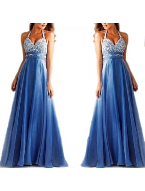 Sexy Women's Mesh A-line V-neck Sequins Backless Formal Prom Gowns Long Maxi Dress Ruffles Chiffon Formal Evening Dresses