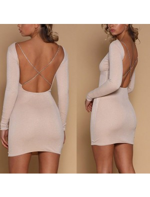 Sexy Slim-fit Sequin Long-sleeved Backless Nightclub Short Dress