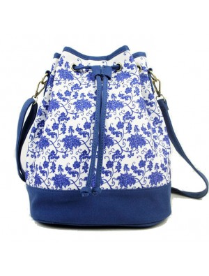 Original Fashion Canvas Blue and White Travel Bag Bucket Bag Backpack