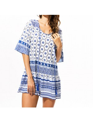 Half Sleeves Blue And White Porcelain Printing Folk  Style Loose Dress