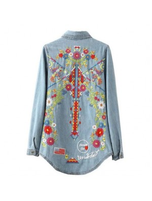 Women's Long Sleeves Flower Embroidery Blue-washed Distressed Denim Shirt