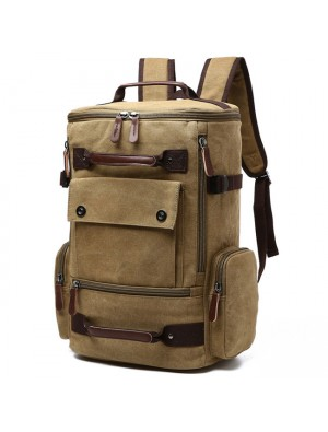 Large Capacity Boy's Canvas Zipper Backpack Retro Washing Color School Backpack Travel Outdoor Backpack