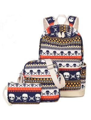 Leisure Cute School Skull Printing Rucksack Punk Totem Travel Canvas Backpack