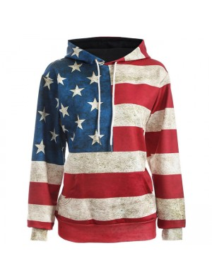 Vintage Usa Flag Stars Striped Jacket Ladies Casual Pullover Hooded Sweater