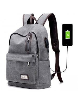 Unique USB Interface Washing Color School Bag Zipper Decor Large Student Canvas Backpacks