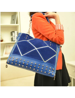 Fashion Rivet Splice Scrub Chain Handbag & Shoulder bag