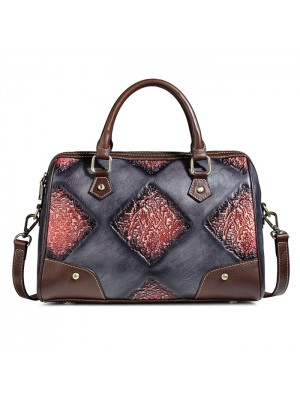 Retro Handmade Embossing Brush Travel Handbag Travel Shoulder Bag