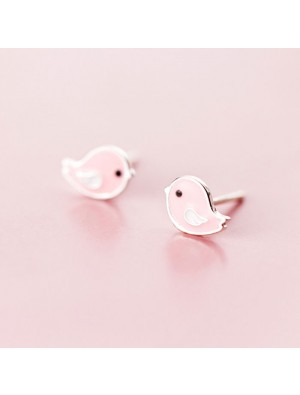 Cute Pink Bird Silver Earrings Studs Sweet Animal Earrings