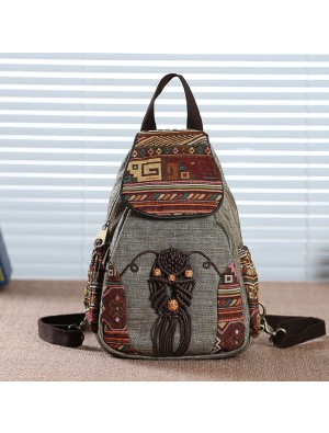 Folk Style Totem Weave Retro Canvas Travel Backpack
