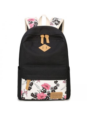 Unique Ink Wash Painting Pink Flower School Bag Girl's Black Canvas Large Floral  Rose Student Backpack