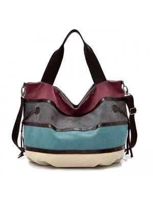 Leisure Large Stripe Canvas Shopping Colorful Rainbow Handbag Shoulder Bag