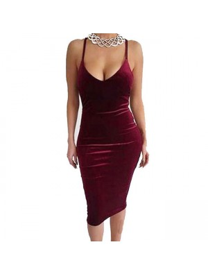 Sexy Pure Backless Crossover Straps Braces Skirt Women's Dress