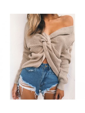 Bare Midriff Knot Hollow Out Halter Zipper Sexy Sweater Women's V-neck Sweater