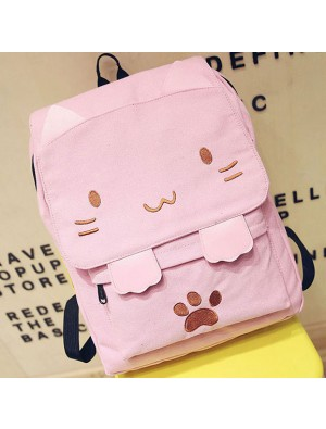 Lovely Stereo Embroidery Cat Cartoon Square Girl's Large Animal Kitten Canvas School Backpack