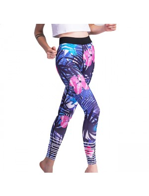 Flowers And Leaves Printing Yoga Sports Ninth Skinny Unique Girl's Tropical Plant Legging