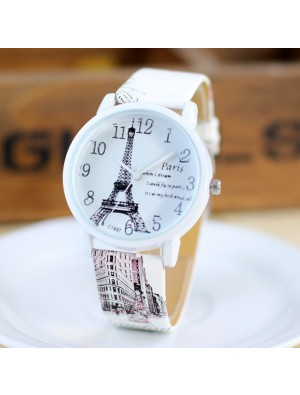 Casual Girls Students Watches Fresh Paris Eiffel Tower Quartz Watch