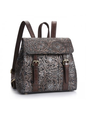 Vintage Flower Real Leather Double Buckle 3D Carved Handmade School Backpack