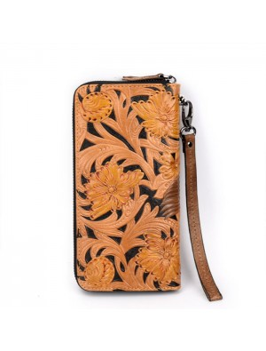 Retro Embossing Leather Carving Yellow Flower Bird Cowhide Relief Large Clutch Bag Men's wallet