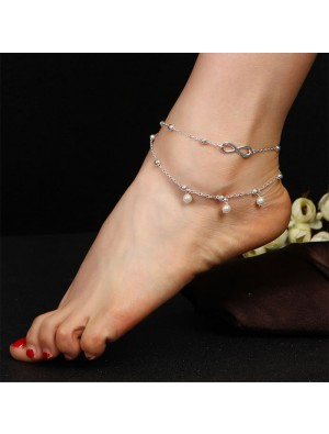 Leisure Double Layer Pearl Unlimited Number 8 Anklet Foot Accessory Anklet