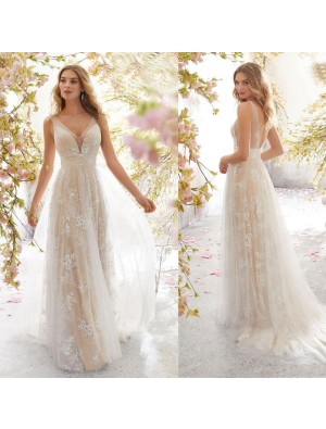 Sexy Flower Leaves Lace Sleeveless Party Long Dress Mesh Bridesmaid Dress