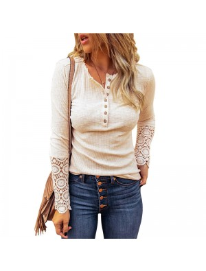 Casual Hollow Sleeve Lace Long Sleeve Crew Neck Pullover Shirts Tops Blouse Coat