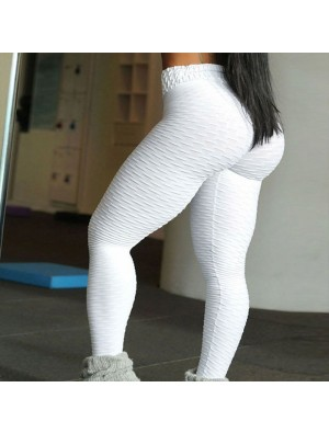 Sexy Buttocks Jacquard Yoga Pants Folds Style Sports Slim Leggings