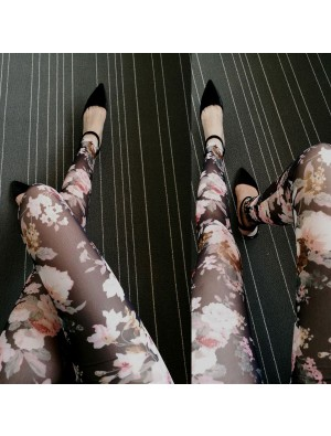 Tissue Designed Doodle Cartoon Printing Mesh Lace Ninth Fashion Girl's Leggings