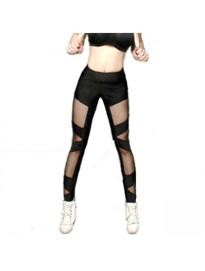 Sexy Black See Through Look Mesh Cross Bundling Stripe Women Sports Legging