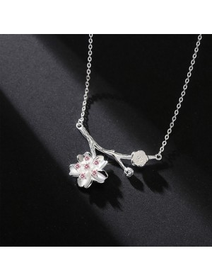 Sweet Pink Crystal Lover Gift Girlfriend Present Flower Women Necklace Cherry Branch Pendant Silver Necklace