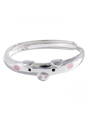 Cute Funny Pink Pig Lover Gift Open Silver Ring