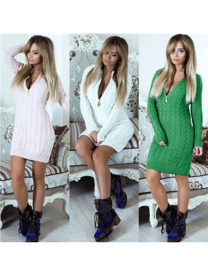 Sexy Mock Neck Package Hip Skirt Cable-Knit Women's Long Sleeves Sweater Short Dress