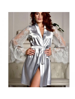 Sexy Lace Silk Night Gown Perspective Mesh Long Sleeves Sleepwear Pajamas