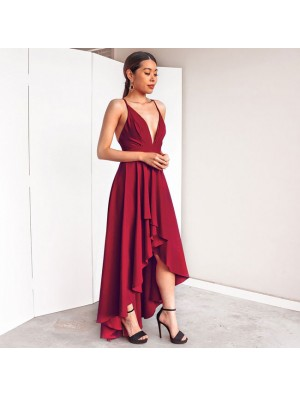Sexy Women's Deep V Neck Straps High Low Prom Dress Party Dress