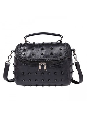 Leisure Punk Ladies Stitching Leather Weave Rivets Shoulder Bags