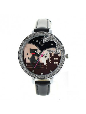 Lovely Cat Bow Rhinestone Quartz Watch