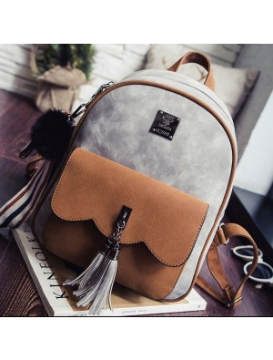 Leisure Tassel Splicing School Backpack Contrast Color Frosted Girl's Backpack