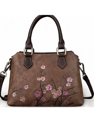 Vintage Original Real Leather Branch 3D Plum Flower Handbag Women Shoulder Bag