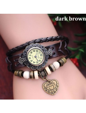 Metallic Beads Heart Retro Leather Bracelet Watch
