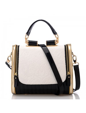 Elegant Retro Contrast Color Rose Pattern Handbag