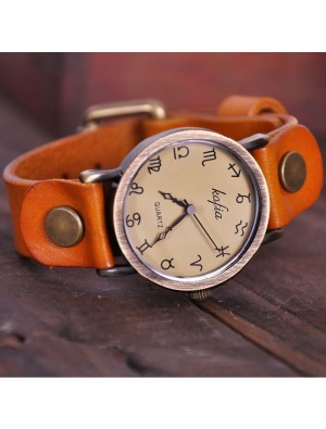 Retro Constellation Symbol Leather Watch