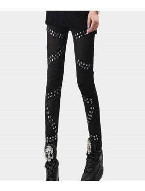 Retro Rivets Stitching Mesh Pants& Leggings